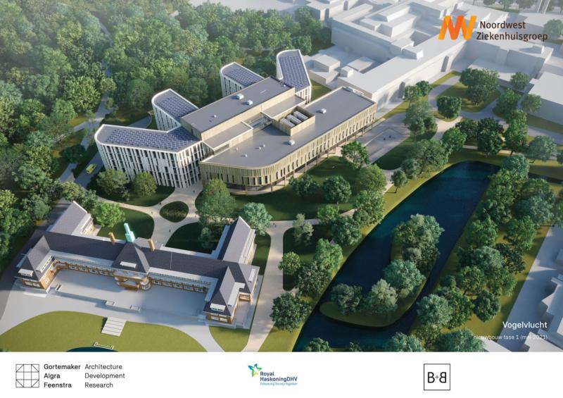 Vogelvlucht nieuwbouw fase 1 - mei 2021 - Noordwest Ziekenhuisgroep